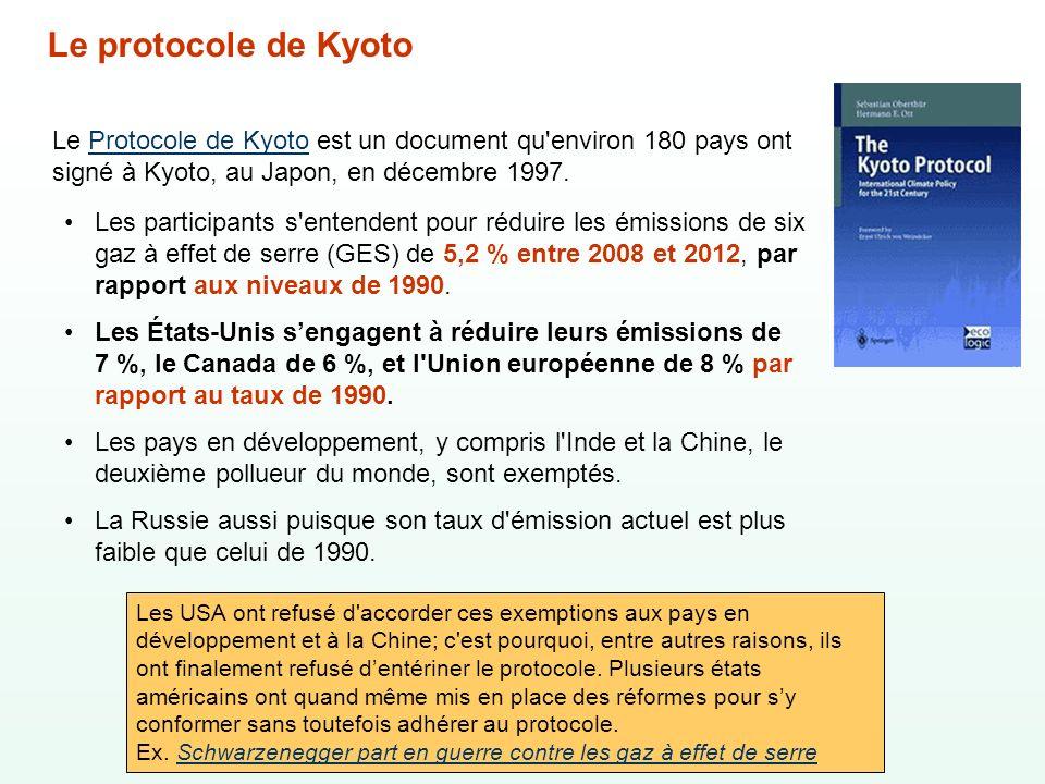 Le protocole de Kyoto Le Protocole de Kyoto est un document qu environ 180 pays ont signé à Kyoto, au Japon, en décembre 1997.