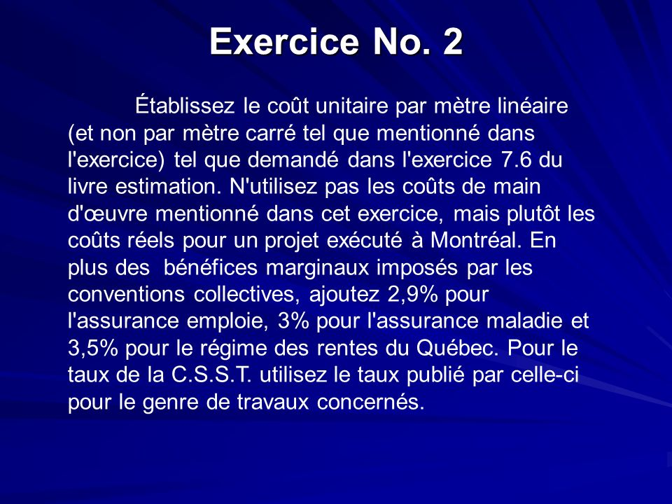 Exercice No. 2