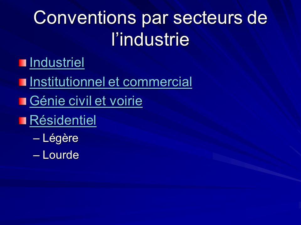 Conventions par secteurs de l'industrie