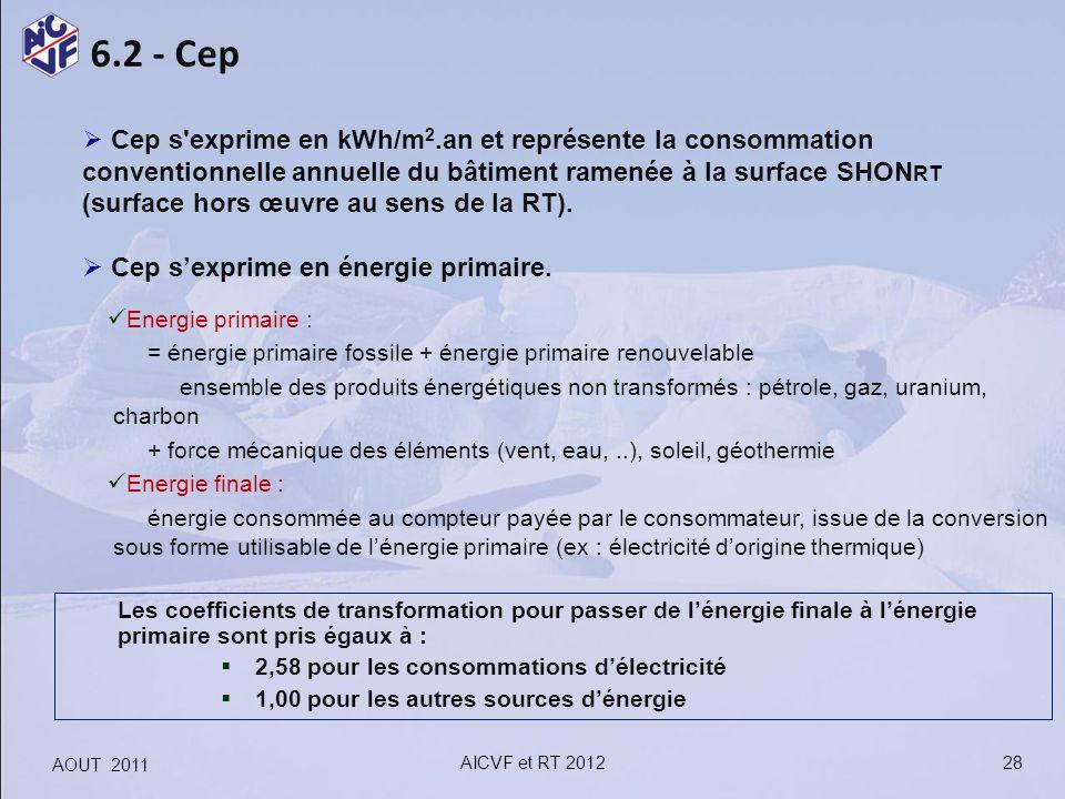 Cep s exprime en kWh/m2.an et représente la consommation conventionnelle annuelle du bâtiment ramenée à la surface SHONRT (surface hors œuvre au sens de la RT).