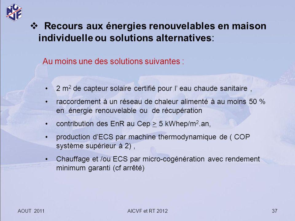 Recours aux énergies renouvelables en maison individuelle ou solutions alternatives: