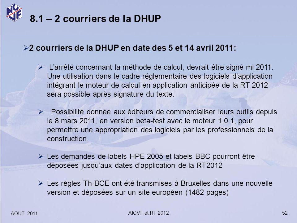 8.1 – 2 courriers de la DHUP 2 courriers de la DHUP en date des 5 et 14 avril 2011: