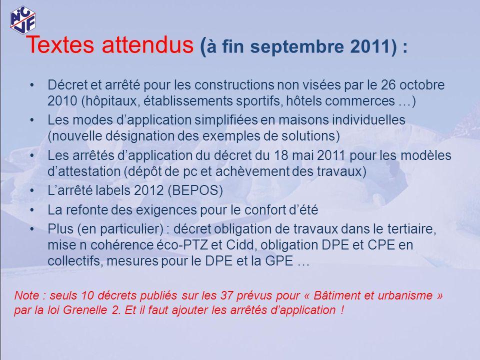 Textes attendus (à fin septembre 2011) :