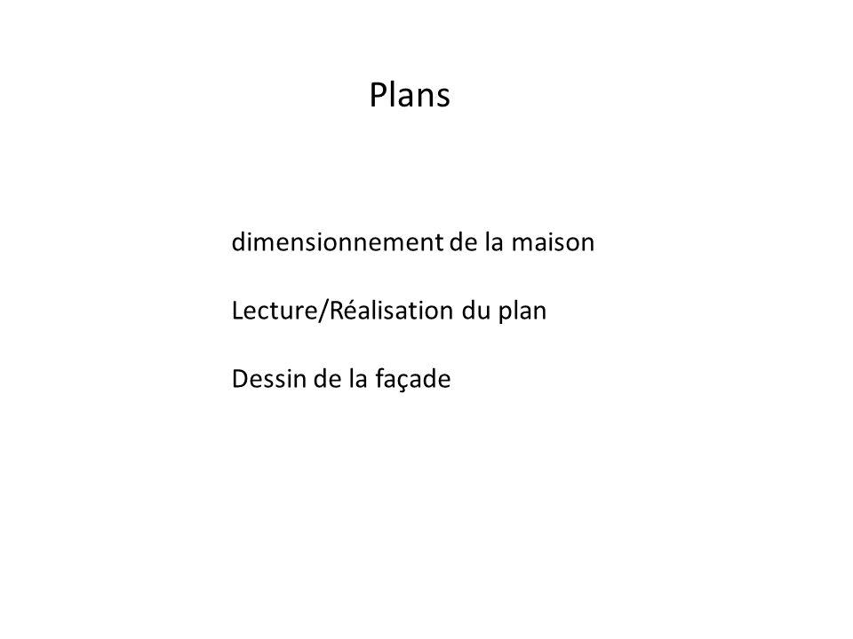 Plans dimensionnement de la maison Lecture/Réalisation du plan