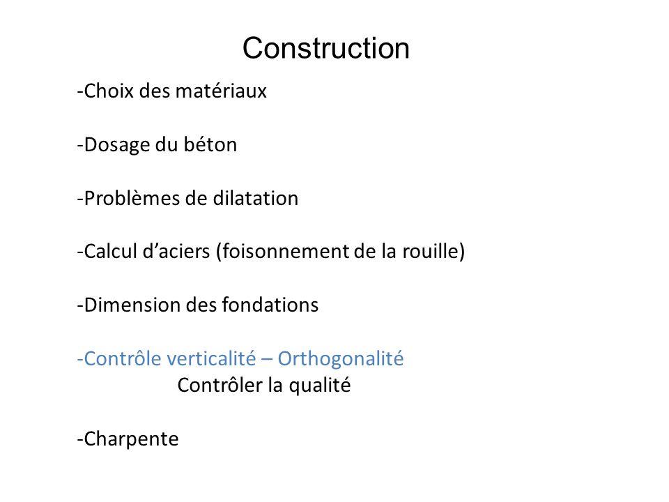 Construction Choix des matériaux Dosage du béton