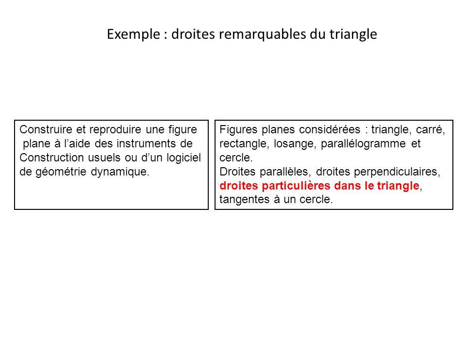 Exemple : droites remarquables du triangle