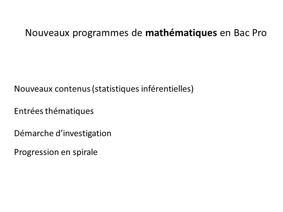Nouveaux programmes de mathématiques en Bac Pro