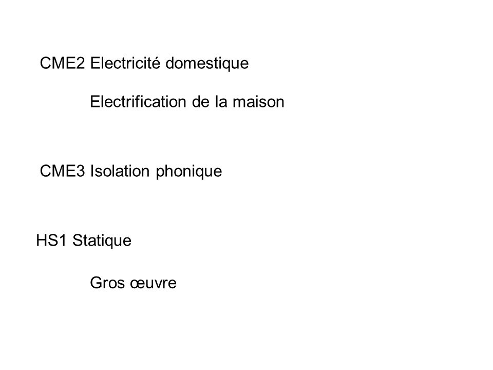CME2 Electricité domestique
