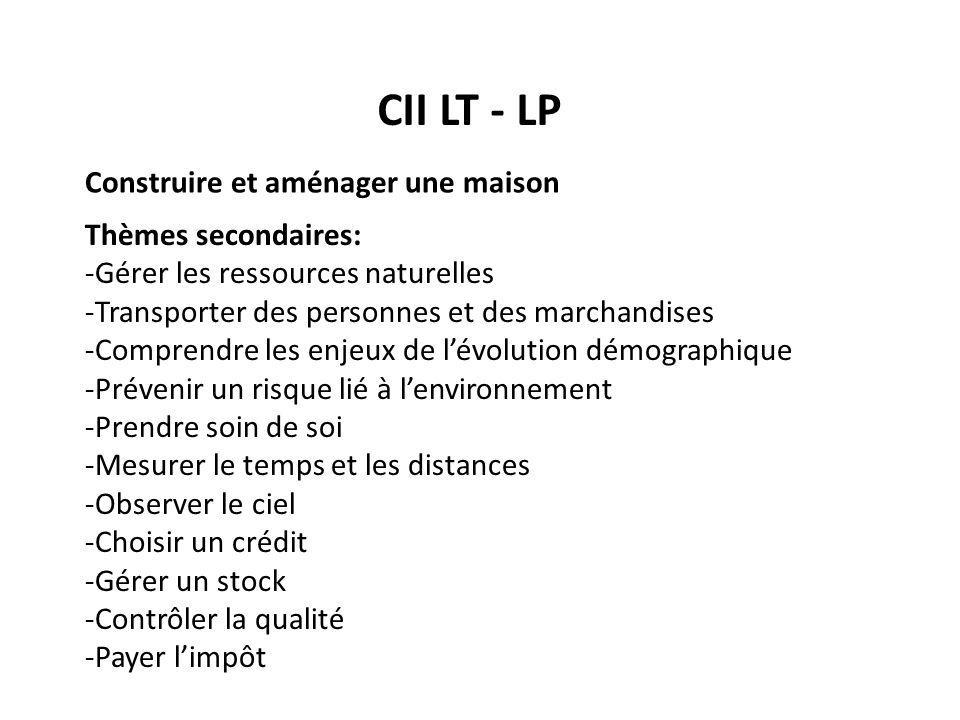 CII LT - LP Construire et aménager une maison Thèmes secondaires: