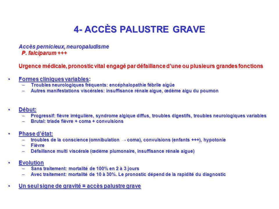 4- ACCÈS PALUSTRE GRAVE Accès pernicieux, neuropaludisme