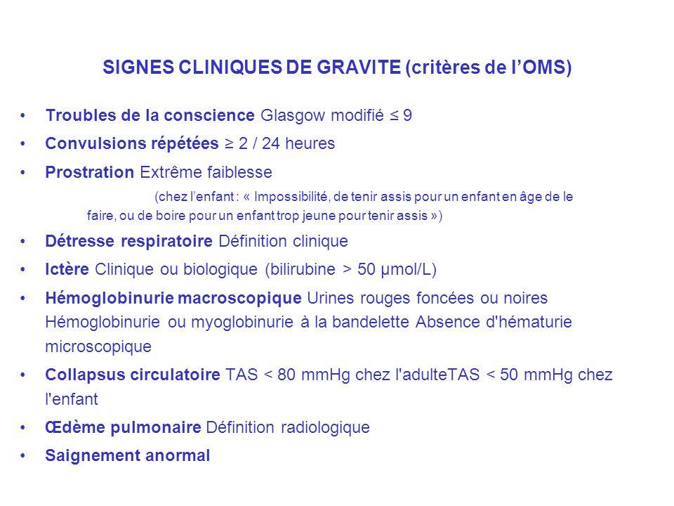 SIGNES CLINIQUES DE GRAVITE (critères de l'OMS)