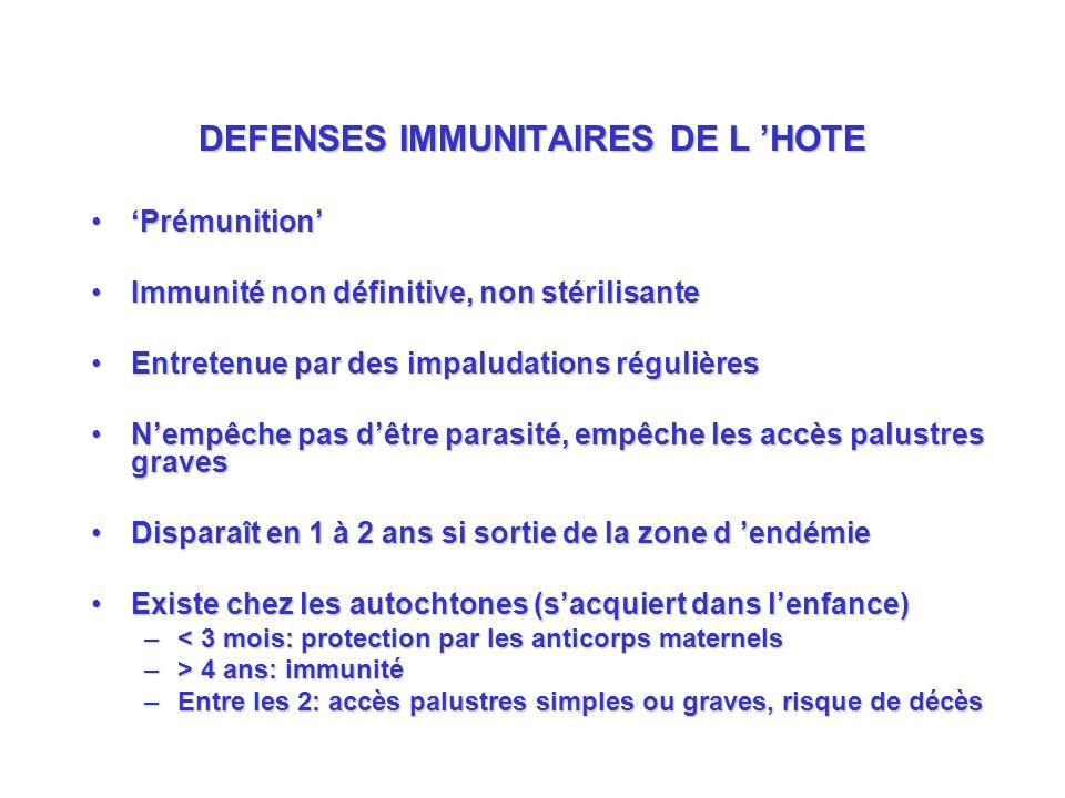 DEFENSES IMMUNITAIRES DE L 'HOTE