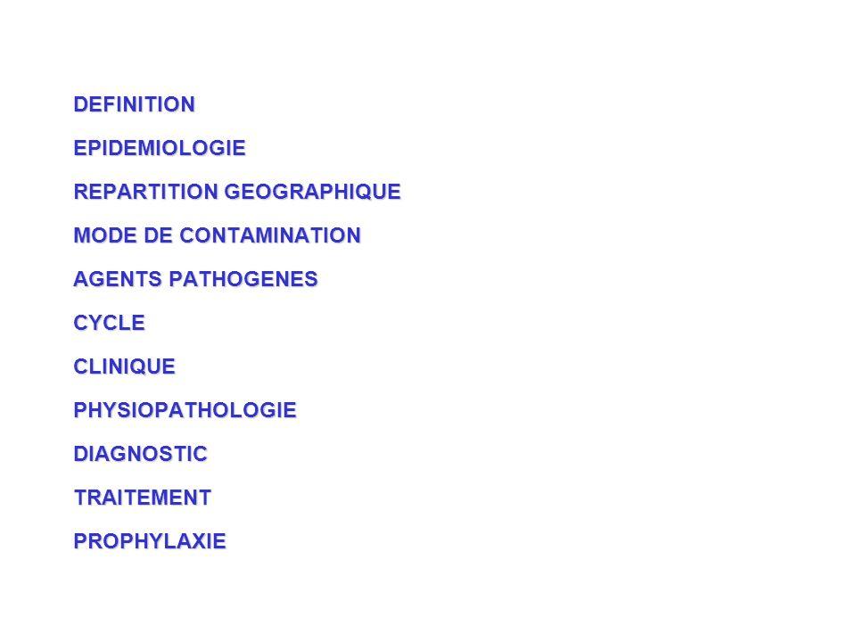 DEFINITION EPIDEMIOLOGIE. REPARTITION GEOGRAPHIQUE. MODE DE CONTAMINATION. AGENTS PATHOGENES. CYCLE.
