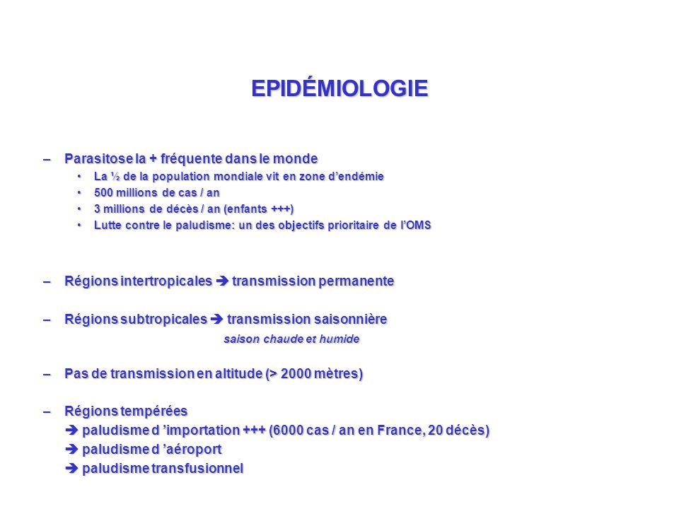EPIDÉMIOLOGIE Parasitose la + fréquente dans le monde