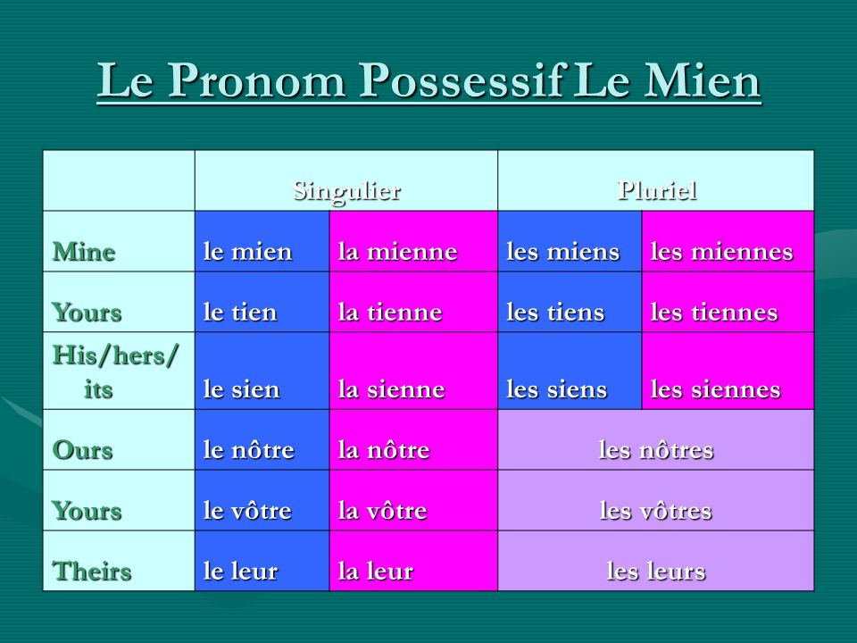Le Pronom Possessif Le Mien