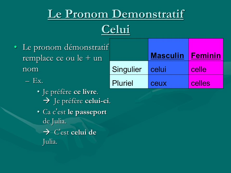 Le Pronom Demonstratif Celui
