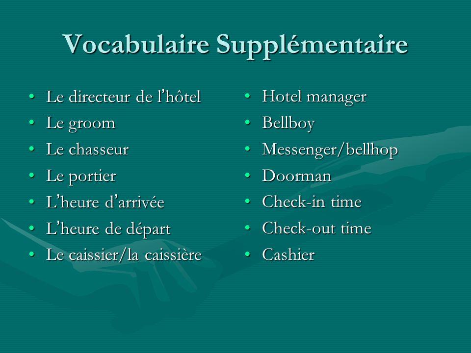 Vocabulaire Supplémentaire