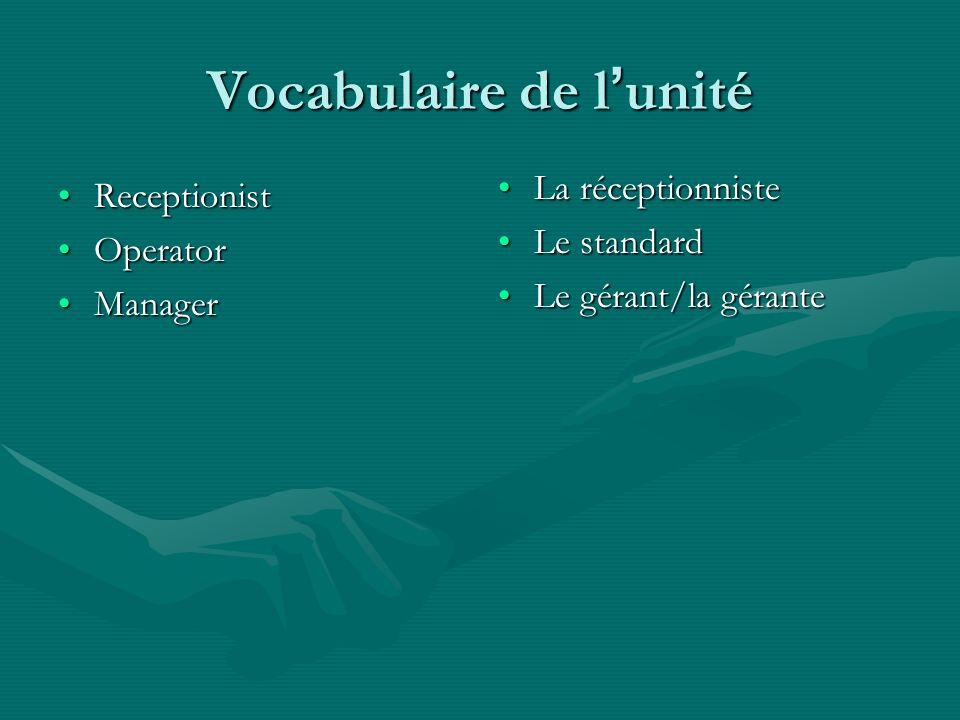 Vocabulaire de l'unité