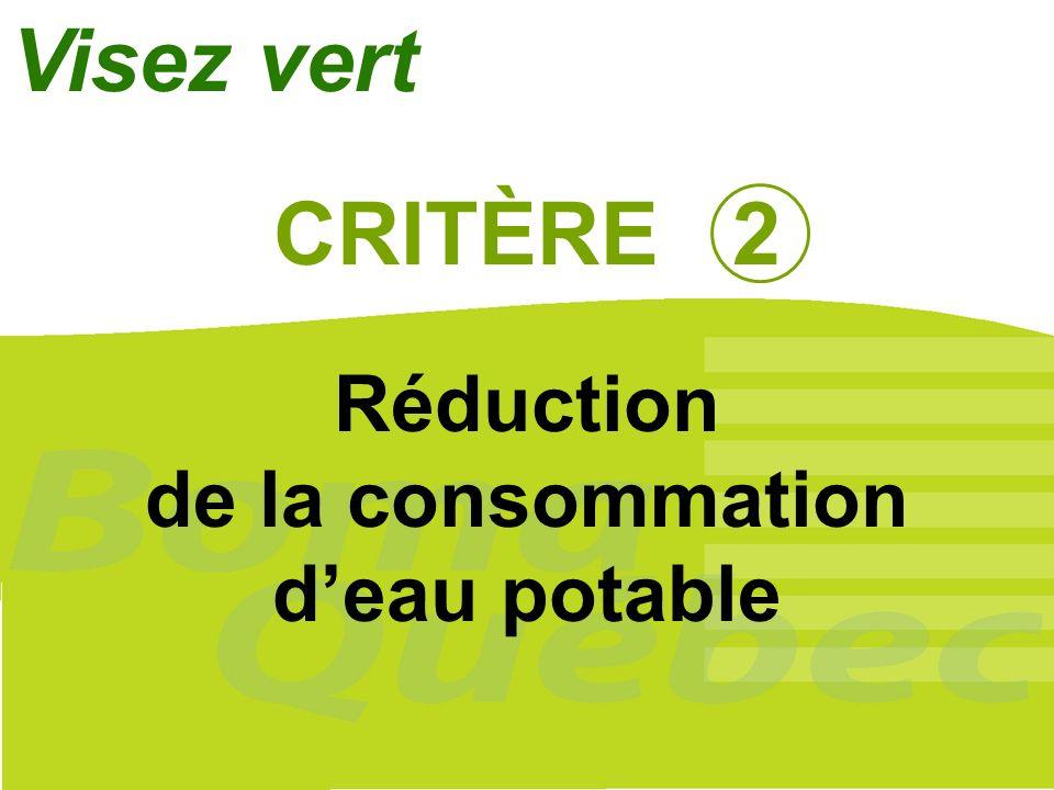 Visez vert CRITÈRE 2 Réduction de la consommation d'eau potable