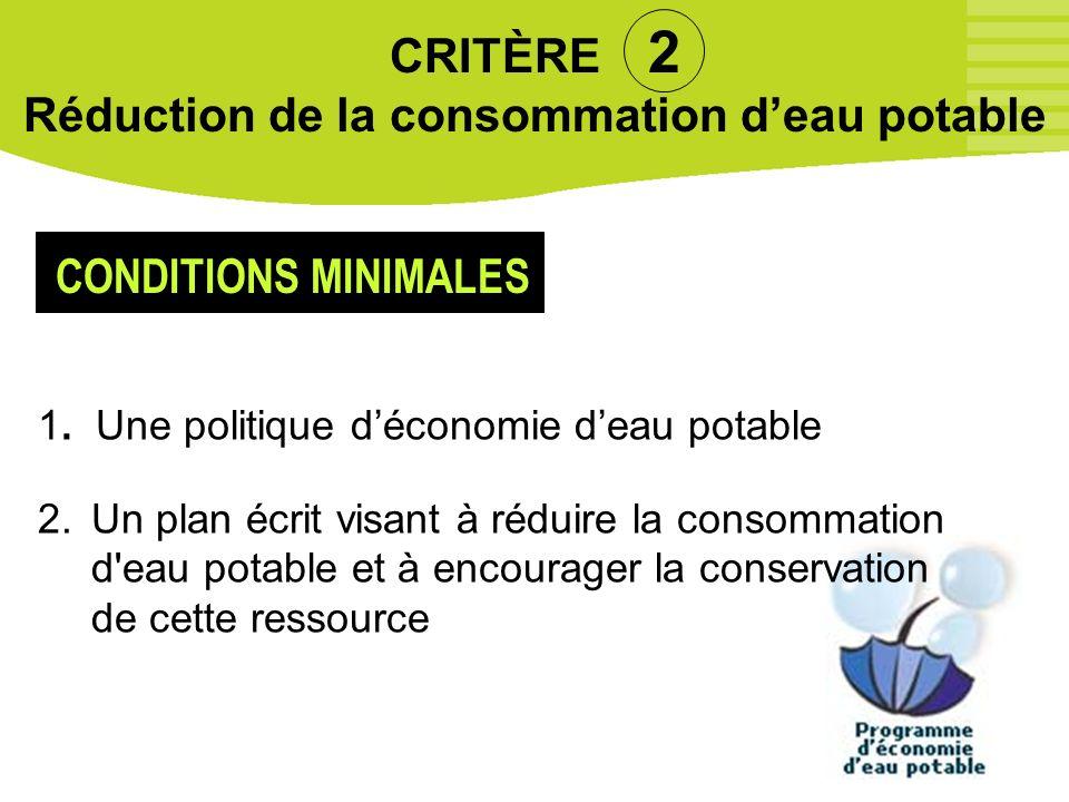 CRITÈRE 2 Réduction de la consommation d'eau potable