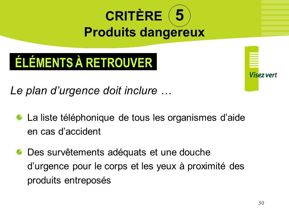 CRITÈRE 5 Produits dangereux