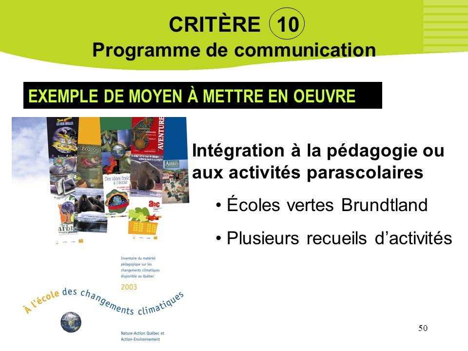 CRITÈRE 10 Programme de communication