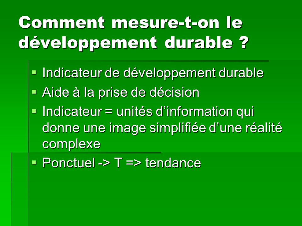 Comment mesure-t-on le développement durable