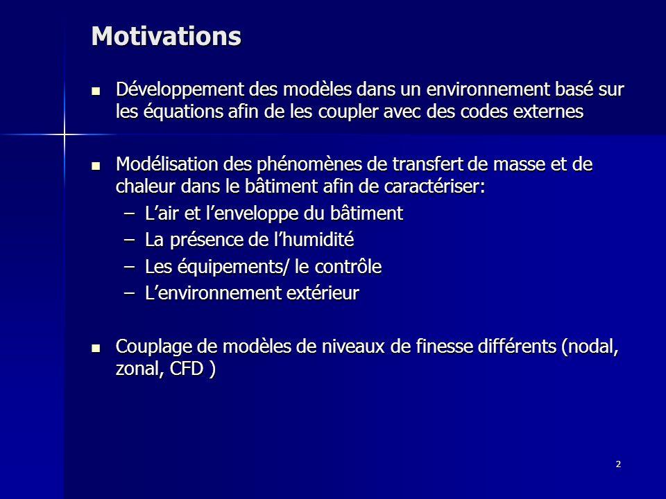 Motivations Développement des modèles dans un environnement basé sur les équations afin de les coupler avec des codes externes.