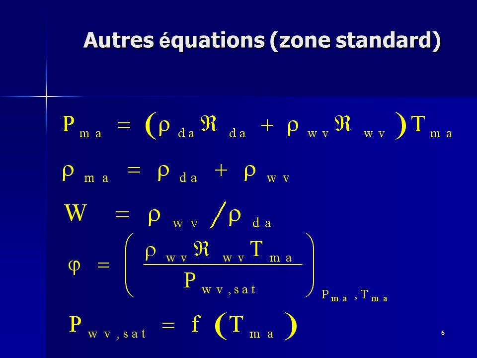 Autres équations (zone standard)