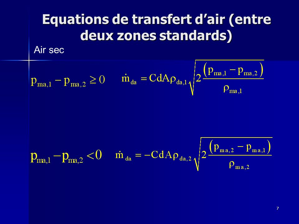 Equations de transfert d'air (entre deux zones standards)