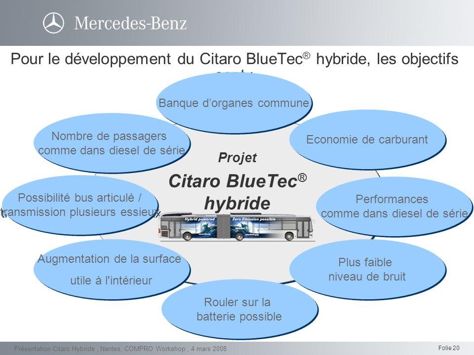 Pour le développement du Citaro BlueTec® hybride, les objectifs sont :