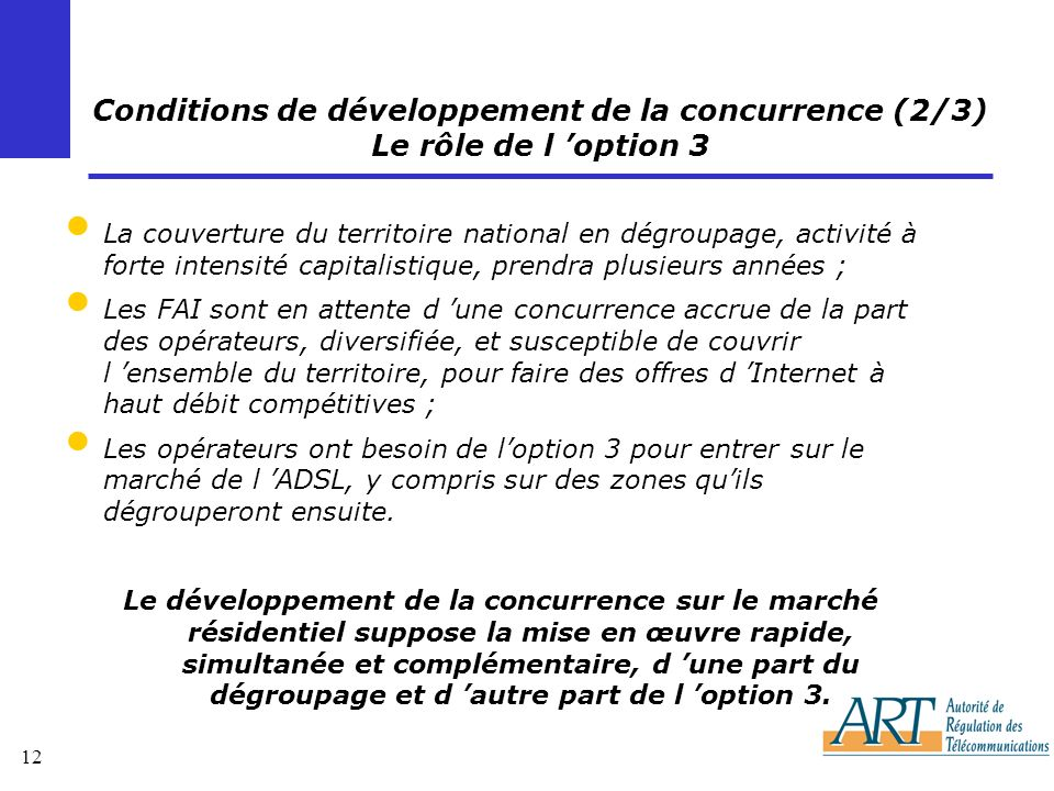 Conditions de développement de la concurrence (2/3) Le rôle de l 'option 3