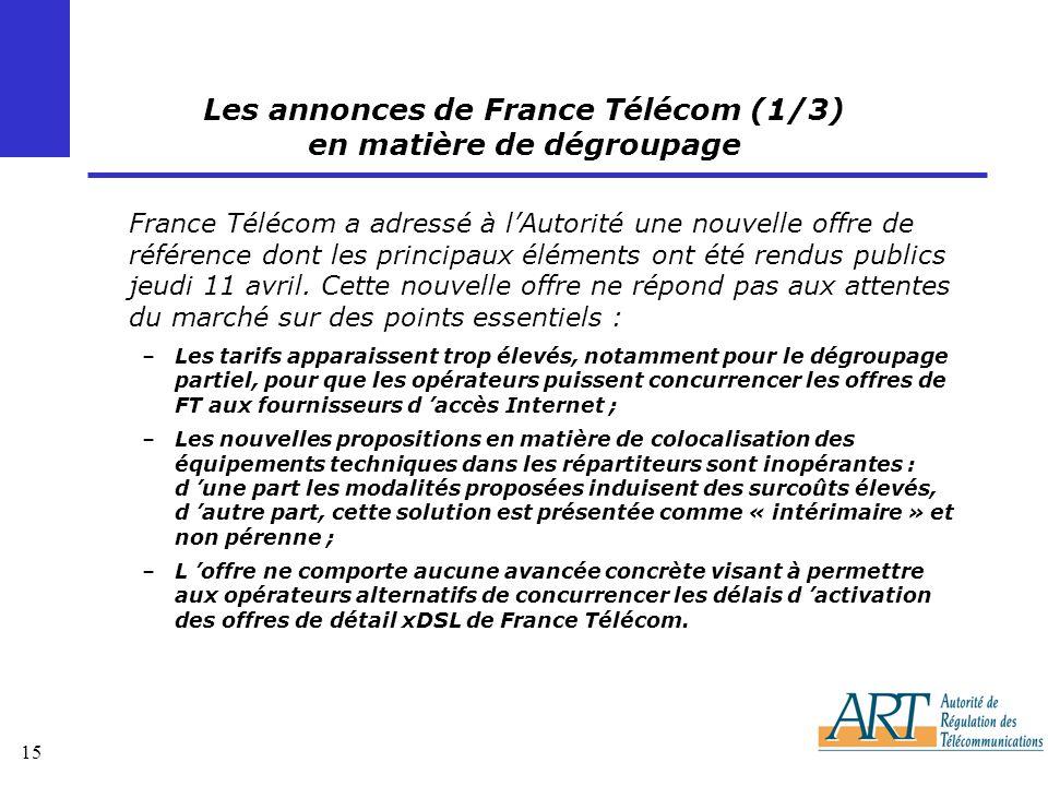 Les annonces de France Télécom (1/3) en matière de dégroupage