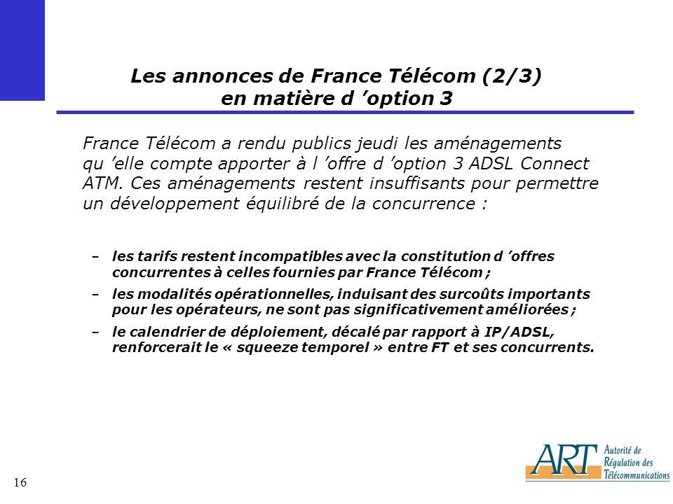 Les annonces de France Télécom (2/3) en matière d 'option 3