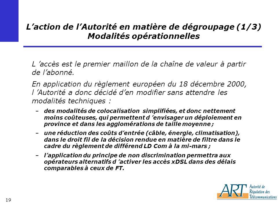 L'action de l'Autorité en matière de dégroupage (1/3) Modalités opérationnelles