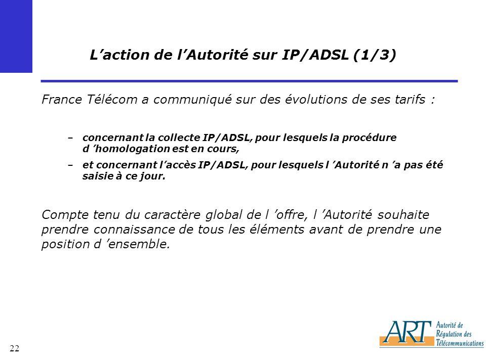 L'action de l'Autorité sur IP/ADSL (1/3)