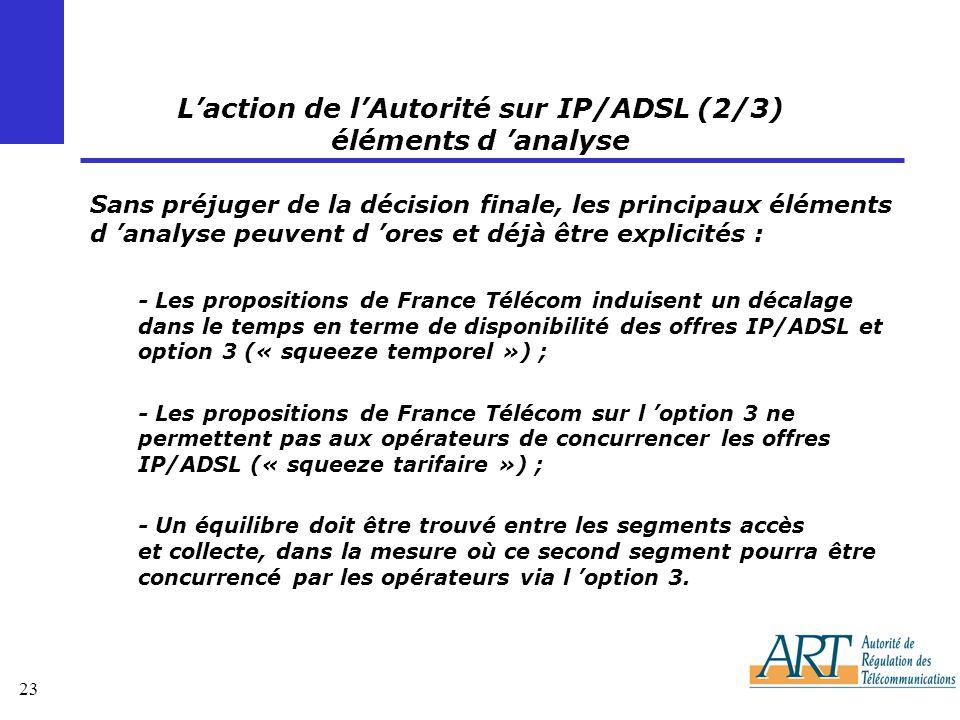 L'action de l'Autorité sur IP/ADSL (2/3) éléments d 'analyse