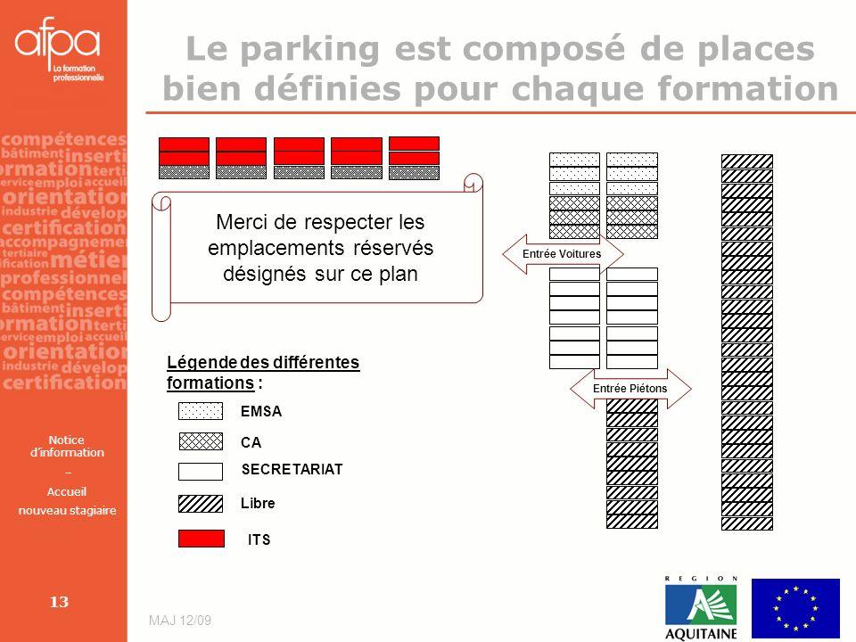 Le parking est composé de places bien définies pour chaque formation