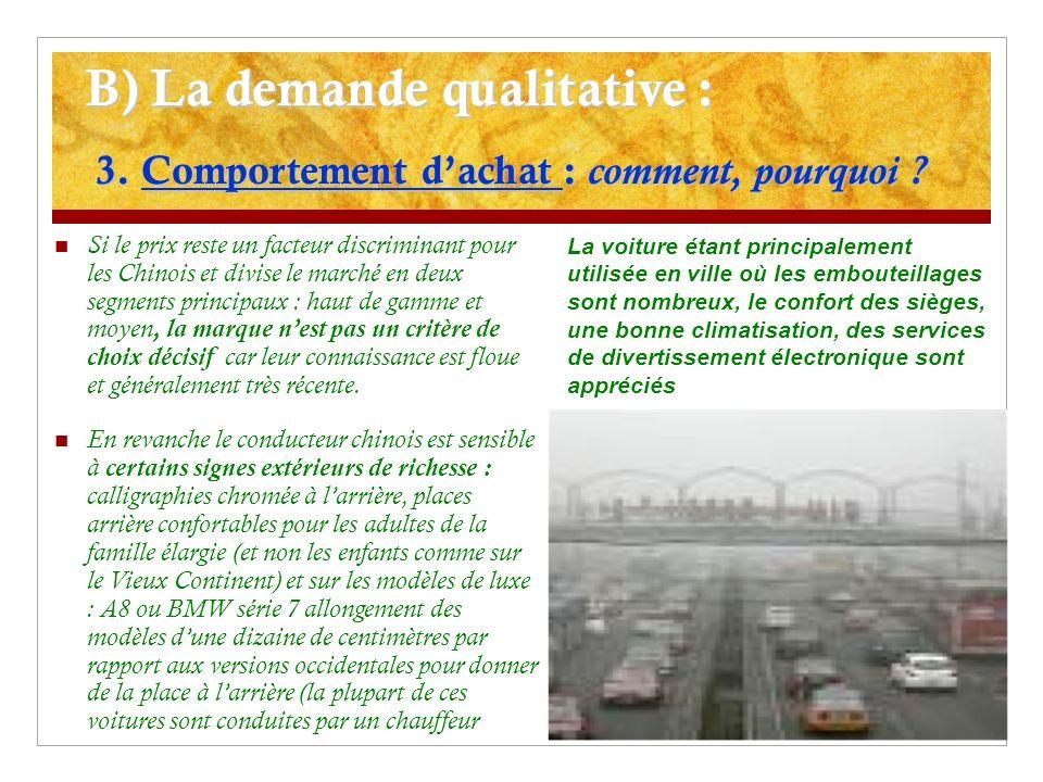 B) La demande qualitative : 3. Comportement d'achat : comment, pourquoi
