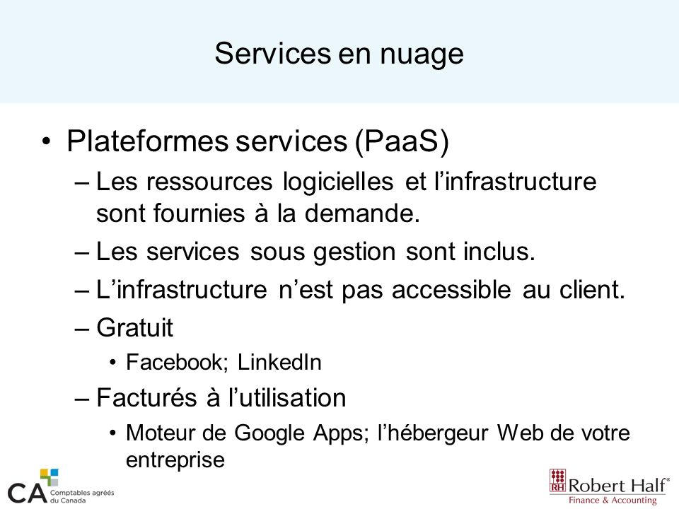 Plateformes services (PaaS)