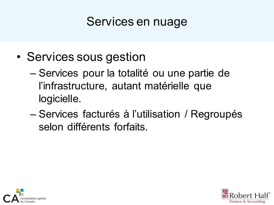 Services en nuage Services sous gestion