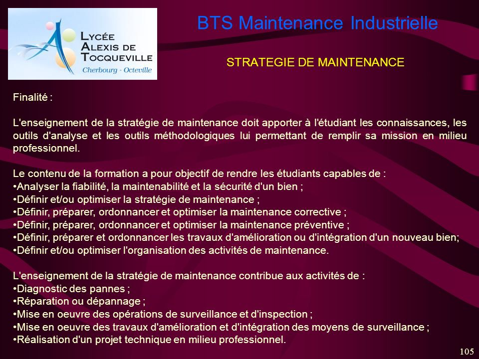 STRATEGIE DE MAINTENANCE