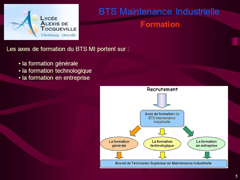 Formation Les axes de formation du BTS MI portent sur :