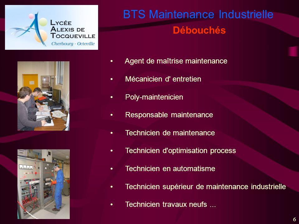 Débouchés Agent de maîtrise maintenance Mécanicien d entretien