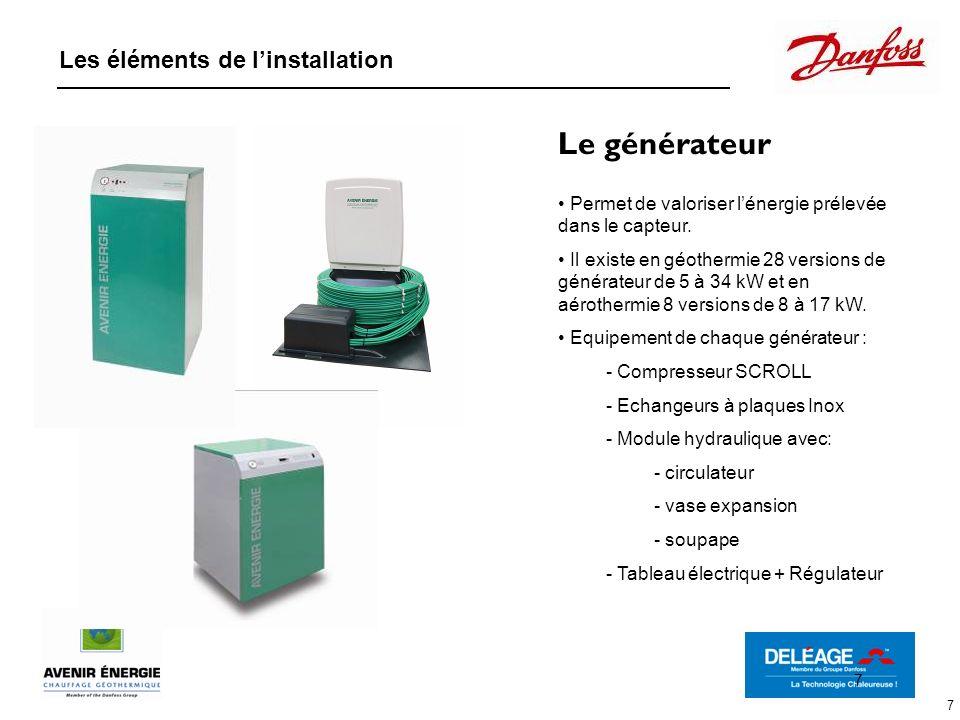 Le générateur Les éléments de l'installation
