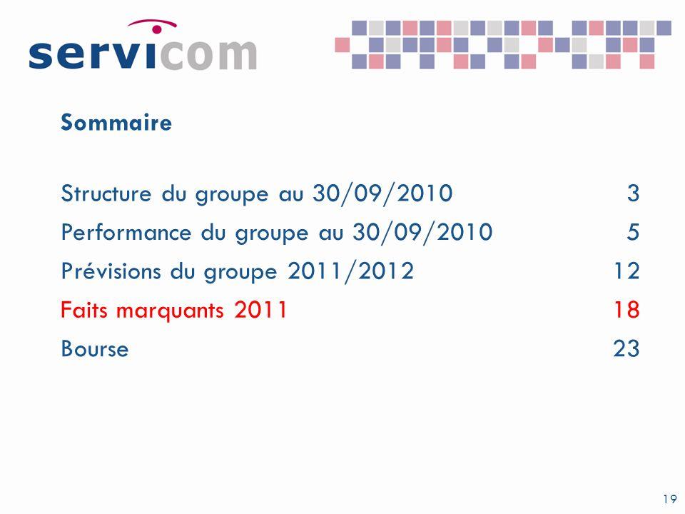 Sommaire Structure du groupe au 30/09/2010. 3. Performance du groupe au 30/09/2010. 5. Prévisions du groupe 2011/2012.