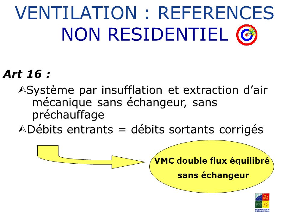 VENTILATION : REFERENCES NON RESIDENTIEL