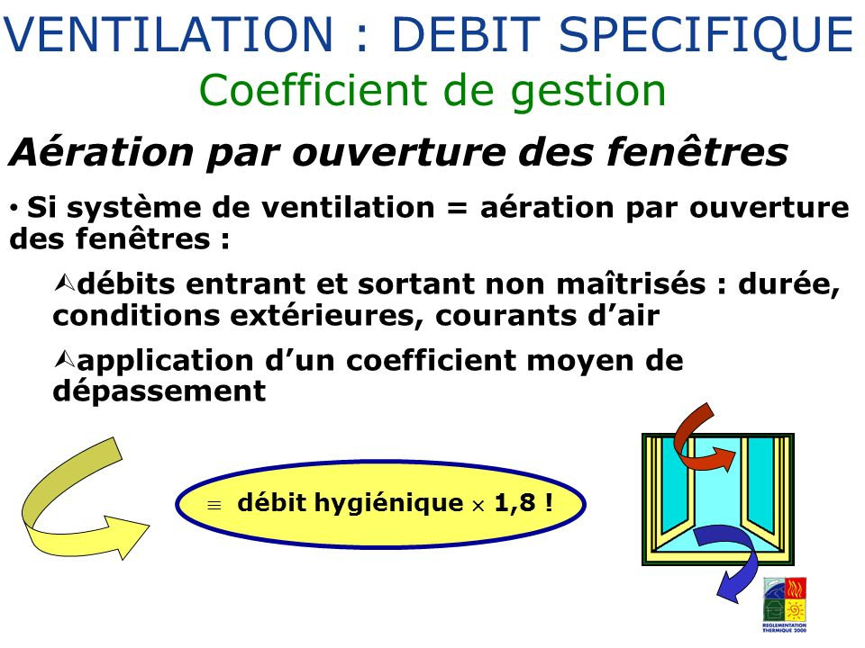 VENTILATION : DEBIT SPECIFIQUE