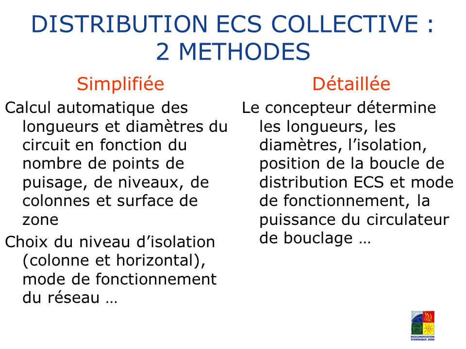 DISTRIBUTION ECS COLLECTIVE : 2 METHODES