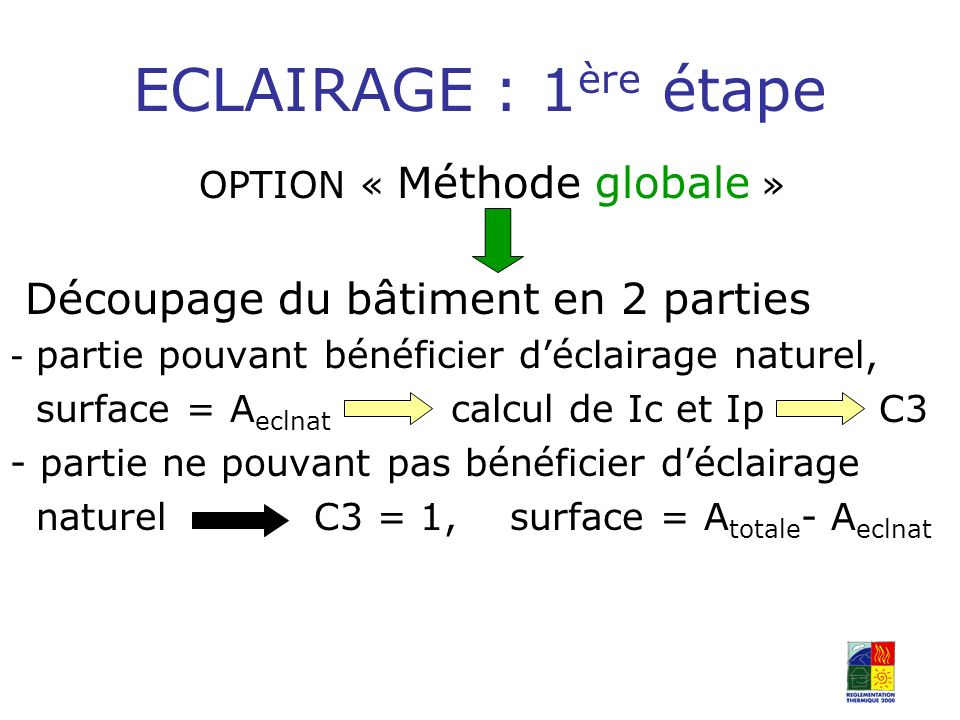 OPTION « Méthode globale »
